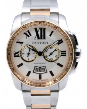 Cartier W7100042 Calibre De Cartier Chronograph 42mm Pink Gold Stainless Steel BOX PAPERS