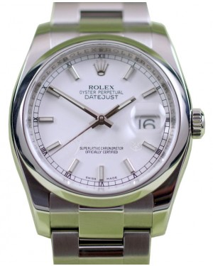 Rolex Datejust 116200 Index White 36mm Stainless Steel Oyster