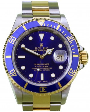 Rolex Submariner 16613 Blue 18k Yellow Gold Stainless Steel Holes Gold-Through Clasp - PRE-OWNED