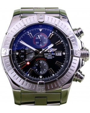 Breitling Super Avenger A13370 48mm Black Baton Stainless Steel