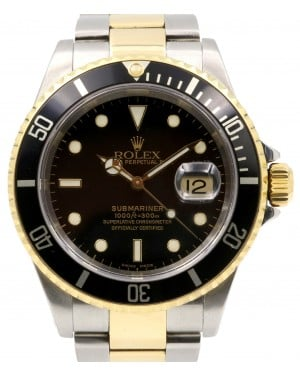 Rolex Submariner Yellow Gold/Steel Black Dial & Aluminum Bezel Oyster Bracelet Holes Case Gold-Thru Clasp 16613 - PRE-OWNED