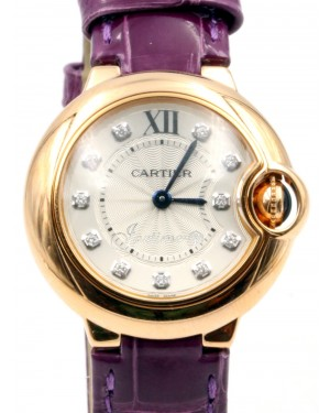Cartier Ballon Bleu De Cartier WJBB0019 Ladies 28mm Rose Gold Silver Diamond Quartz Purple Leather BRAND NEW