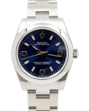 Rolex Oyster Perpetual 31 Ladies Midsize Stainless Steel Blue Arabic / Index Dial Smooth Bezel & Oyster Bracelet 177200 - BRAND NEW