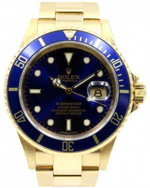 Rolex Submariner 16618 Men's Blue Solid Yellow Gold 40mm Diver Oyster Date - PRE-OWNED