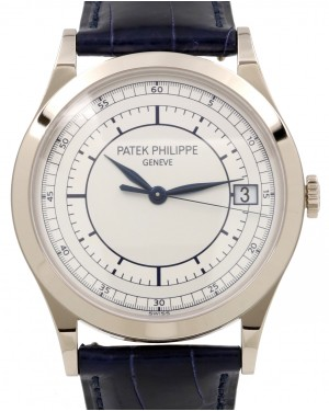Patek Philippe 5296G-001 Calatrava 38mm Silver Date White Gold Leather BRAND NEW