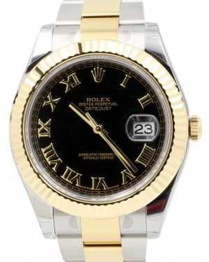 Rolex Datejust II 116333 Black Roman Fluted Yellow Gold Stainless Steel Oyster Date BRAND NEW