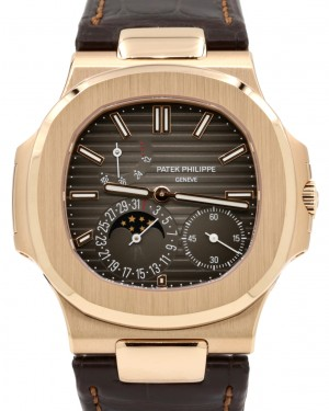 Patek Philippe Nautilus Date Moon Phase Rose Gold 40mm Black Brown Dial Leather Strap 5712R-001 - PRE-OWNED