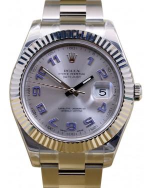 Rolex Datejust II 116334 Men's 41mm Silver Blue Arabic 18k White Gold Stainless Steel BRAND NEW