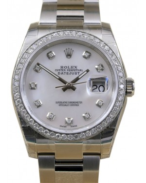Rolex Datejust 36 Stainless Steel White Mother of Pearl Diamond Dial & Bezel Oyster Bracelet 116200 BRAND NEW