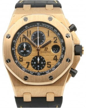 Audemars Piguet 26470OR.OO.A002CR.01 Royal Oak Offshore Chronograph 42mm Champagne Arabic Rose Gold Leather PRE-OWNED