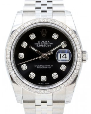 Rolex Datejust 36 Stainless Steel & White Gold Black Diamond Dial & Bezel Jubilee Bracelet 116200 - BRAND NEW