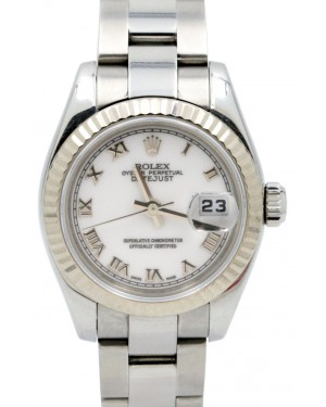 Rolex Datejust 179174 26mm Ladies Small White Roman Oyster Stainless Steel 18k White Gold Fluted BOX PAPERS
