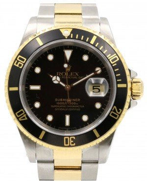 Rolex Submariner Yellow Gold & Stainless Steel Black 40mm Dial Oyster Bracelet 16613 - PRE-OWNED