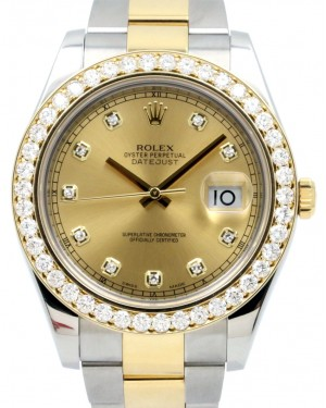 Rolex Datejust II 116333 Champagne Diamond Markers and Bezel 41mm Yellow Gold Stainless Steel