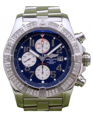 Breitling Super Avenger A13370 Men's 48mm Diamond Bezel Blue Arabic Stainless Steel Chronograph