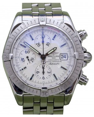 Breitling Chronomat Evolution A13356 Silver Index Stainless Steel 44mm Chronograph Date