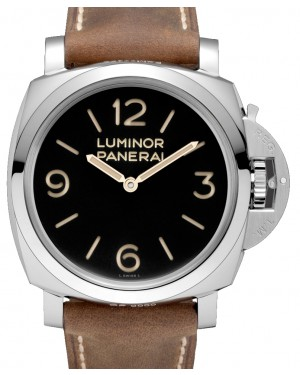 Panerai PAM 00372 Luminor 3 Days Stainless Steel Black Arabic/Index Dial & Scamosciato Brown Strap 47mm - BRAND NEW