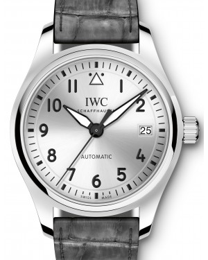 IWC Schaffhausen IW324007 Pilot's Watch Automatic 36 Silver Plated Arabic Stainless Steel Grey Leather 36mm Automatic