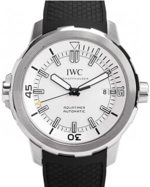 IWC Schaffhausen IW329003 Aquatimer Automatic Silver Plated Index Stainless Steel Black Rubber 42mm Automatic