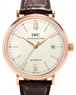 IWC Schaffhausen IW356504 Portofino Automatic Silver Plated Index Red Gold Brown Leather 40mm Automatic