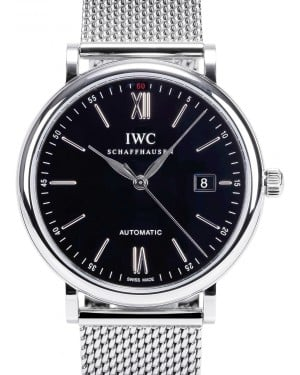 IWC Schaffhausen IW356506 Portofino Automatic Black Index Milanaise Mesh Stainless Steel 40mm Automatic