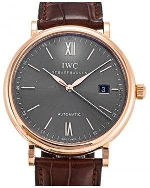 IWC Schaffhausen IW356511 Portofino Automatic Ardoise Index Red Gold Brown Leather 40mm Automatic