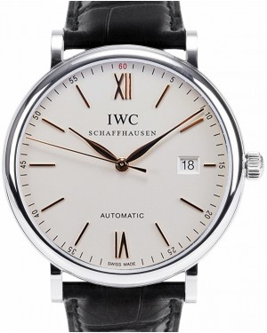 IWC Schaffhausen IW356517 Portofino Automatic Silver Plated Index Stainless Steel Black Leather 40mm Automatic