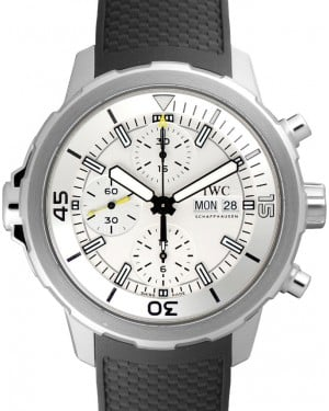 IWC Schaffhausen IW376801 Aquatimer Chronograph Silver Plated Index Stainless Steel Black Rubber Chronograph 44mm Automatic