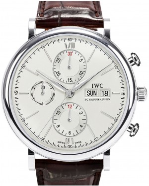IWC Schaffhausen IW391007 Portofino Chronograph Silver Plated Index Stainless Steel Brown Leather 42mm Automatic