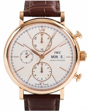 IWC Schaffhausen IW391020 Portofino Chronograph Silver Plated Index Red Gold Brown Leather 42mm Automatic