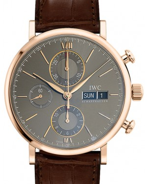 IWC Schaffhausen IW391021 Portofino Chronograph Slate Index Red Gold Brown Leather 42mm Automatic