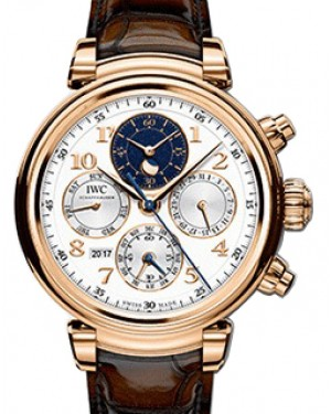 IWC Schaffhausen Da Vinci Perpetual Calendar Chronograph IW392101 Silver Arabic Red Gold Brown Leather 43mm BRAND NEW