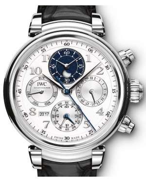 IWC Da Vinci Perpetual Calendar Chronograph IW392104 Silver Arabic Platinum Leather 43mm - BRAND NEW