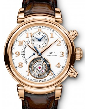 IWC Schaffhausen Da Vinci Tourbillon Rétrograde Chronograph IW393101 Silver Arabic Red Gold Brown Leather 44mm - BRAND NEW