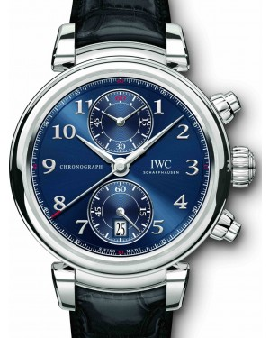 IWC Schaffhausen Da Vinci Chronograph Edition Laureus Sport for Good Foundation IW393402 Blue Arabic Stainless Steel Black Leather 42mm BRAND NEW