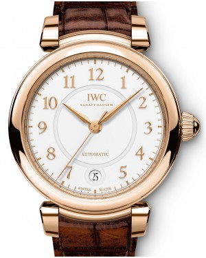 IWC Schaffhausen Da Vinci Automatic 36 IW458309 Silver Arabic Red Gold Brown Leather 36mm BRAND NEW