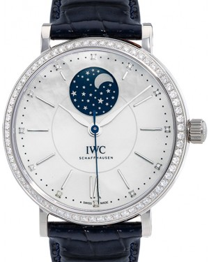 IWC Schaffhausen IW459001 Portofino Automatic Moon Phase 37 White Mother of Pearl Diamond Stainless Steel Set with Diamonds Blue Leather 37mm Automatic