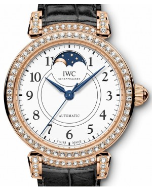 "IWC Da Vinci Automatic Moon Phase 36 Edition ""150 Years"" IW459304 White Arabic Diamond Set Red Gold Leather 36mm - BRAND NEW"
