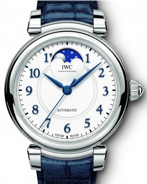 IWC Schaffhausen Da Vinci Automatic Moon Phase 36 IW459306 Silver Arabic Stainless Steel Blue Leather 36mm BRAND NEW