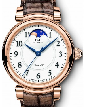 IWC Schaffhausen Da Vinci Automatic Moon Phase 36 IW459308 Silver Arabic Red Gold Bronze Leather 36mm BRAND NEW