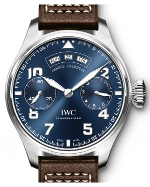 "IWC Big Pilot's Watch Annual Calendar Edition ""Le Petit Prince"" IW502703 Blue Arabic White Gold Leather 46.2mm - BRAND NEW"