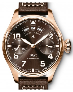 "IWC Big Pilot's Watch Annual Calendar Edition ""Antoine De Saint Exupéry"" IW502706 Brown Arabic Red Gold Leather 46.2mm - BRAND NEW"