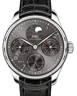 IWC Schaffhausen IW503301 Portugieser Perpetual Calendar Ardoise Arabic White Gold Black Leather 44.2mm Automatic