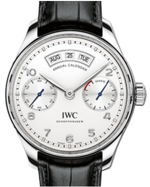IWC Schaffhausen IW503501 Portugieser Annual Calendar Silver Plated Arabic Stainless Steel Black Leather 44.2mm Automatic
