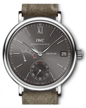 IWC Portofino Hand-Wound Eight Days IW510115 Slate Index Stainless Steel Fabric 45mm - BRAND NEW