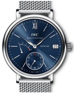IWC Portofino Hand-Wound Eight Days IW510116 Blue Index Stainless Steel  45mm - BRAND NEW