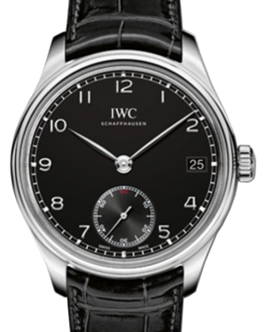 IWC Schaffhausen IW510202 Portugieser Hand-Wound Eight Days Black Arabic Stainless Steel Black Leather 43mm Manual
