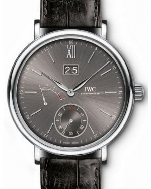 IWC Schaffhausen IW516101 Portofino Hand-Wound Big Date Ardoise Index White Gold Black Leather 45mm Manual