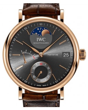 IWC Portofino Hand-Wound Moon Phase IW516403 Slate Index Red Gold Leather 45mm - BRAND NEW