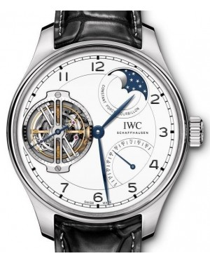 "IWC Portugieser Constant-Force Tourbillon Edition ""150 Years"" IW590202 Silver Arabic Platinum Leather 46mm - BRAND NEW"